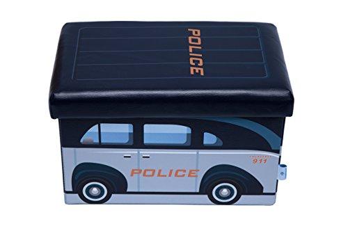 Fsobellaleo Baby Cute Faux Leather Folding Storage Ottoman for Kids16.5'x10.2'x10.2 (police car) (Bella Decor Home)