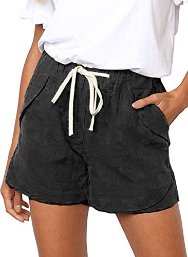 NEWFANGLE Women's Cotton Linen Causal Shorts Comfy Beach Short Drawstring Elastic Waist Shorts,Black,S
