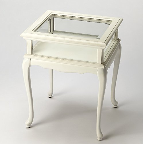TABLES – CHELMSFORD CURIO TABLE – COTTAGE WHITE – GLASS TOP DISPLAY TABLE