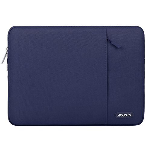 MOSISO Laptop Sleeve Compatible 13 Inch MacBook Pro Touch Bar A1989 A1706 A1708 USB-C 2018 2017 2016, Surface Pro 2017, Dell XPS 13,Polyester Water Repellent Vertical Bag with Pocket,Navy Blue