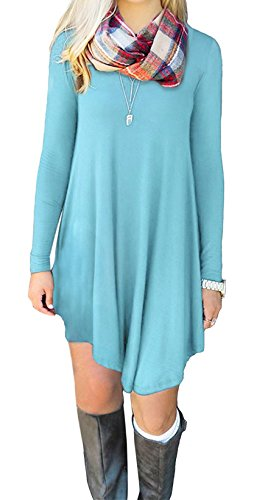 BELAMOR Long Sleeve Tshirt Dress for Women Fall Tunic Swing Womens Dresses Casual A line Short Light blue,L