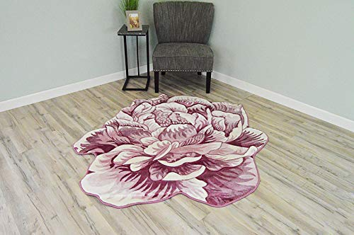 (Flowers 3D Effect Hand Carved Thick Artistic Floral Flower Rose Botanical Shape Area Rug Design 302 Pink 2'7''x2'7'' Round)