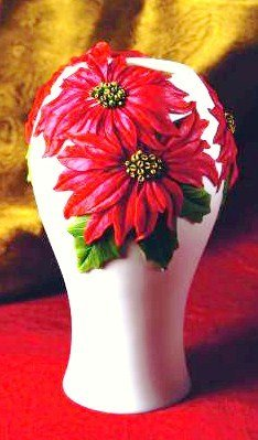 Poinsettia Vase - Hand Painted Decorative Vase By Ibis & Orchid Designs Hand Painted Vases