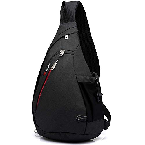 KAKA Small Sling Bag, Crossbody Backpack Canvas Waterproof Daypack Casual One Shoulder Bag Traveling Hiking Camping for Men and Women (smaller one)
