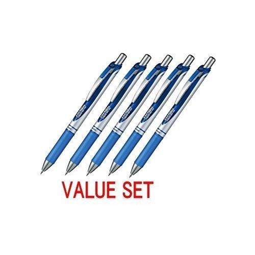 2 Set X Pentel EnerGel Deluxe RTX Retractable Liquid Gel Pen - 0.7mm - Fine Line - Metal Tip - Blue Ink - Total 10 Pens Set