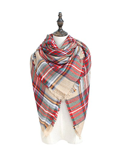 Spring-fever-Soft-Lightweight-Plaid-Blanket-Acrylic-Cashmere-Feel-Elegant-Scarf