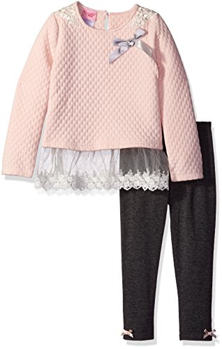 [Nannette Little Girls' Toddler 2 Piece Quilted Knit Athlesiure Set and Legging, Pink, 2T] (Knit Two Piece Set)