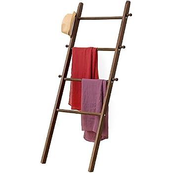 MyGift 5-Foot Wall-Leaning Dark Brown Wood Garment Ladder-Style Wall Rack