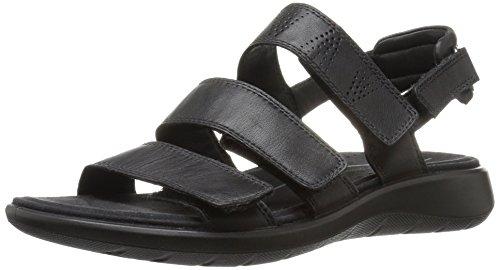 Ecco Damen Soft 5 Offene Sandalen mit Keilabsatz Schwarz (1001BLACK)