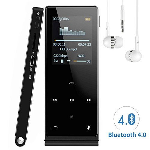 Bluetooth MP3 Player, Linnnzi 8GB Touch Buttons HIFI Music Player, Support Photo Viewer, Video Player, Voice Recorder, FM Radio, Pedometer, e-Book, Up to 64GB Extended Memory & 50Hr Playback -Black