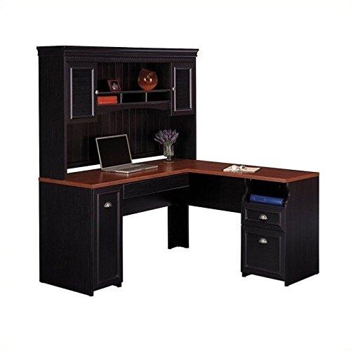 """Bush Fairview 60"""" L-Shape Computer Desk with Hutch in Antique Black"""