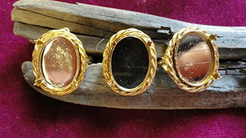 (Rope Prong Ring Gold Plate Adjustable 13x18mm Bezel with prongs (Pkg 3) KJE-429)