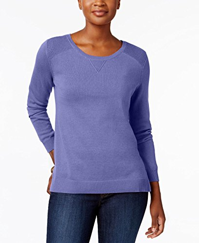 (Karen Scott Womens Knit Crew Neck Pullover Sweater Purple L)
