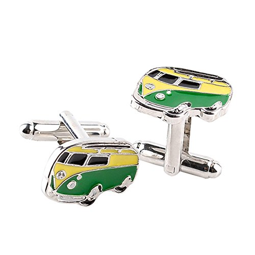 MayLove Stainless Steel Classic Bus Peace Symbol Green Tuxedo Shirt Cufflinks for Men