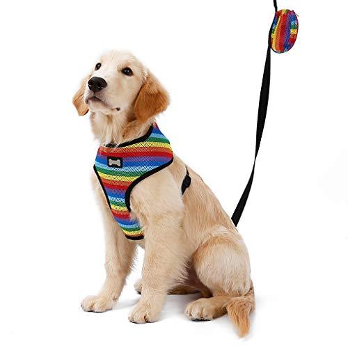 Pet Cat Dog Adjustable Leash Chest Strap Belt Striped Printed Breathable Mesh Chest Belt Comfort Vest (M, Multicolor) ()