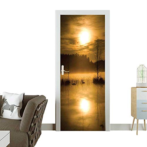 (Waterproof Decoration Door Decals Hazy Sunset Lights Over Lake The Middle Foggy Mystical Night Time Perfect ornamentW35.4 x H78.7 INCH)