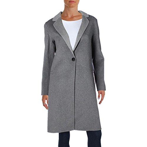 Nanette Lepore Women's Elegant Double Faced Single Breasted Wool Blend Coat, Heather Grey, Medium