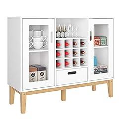 HOMECHO Bar Wine Cabinet Buffet Wood Sid...