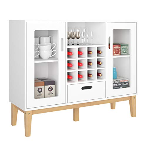 HOMECHO 2 Doors Bar Wine Cabinet with 12 Bottles Wine Storage Rack Buffet Sideboard, 1 Drawer and 1 Open Storage Shelf with Solid Wood Legs for Living Room, Dinning Room and Kitchen White HMC-MD-017 (Lacquer Buffet Sideboard White)