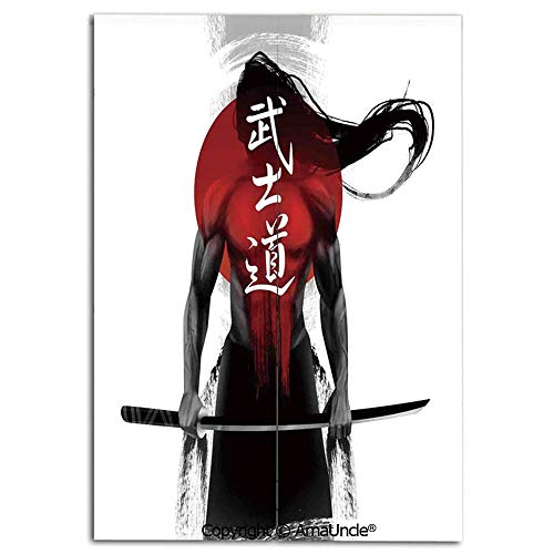 Customized Doorway Curtain to Keep Privacy,Samurai Warrior Figure Sunburst Background Ronin Japan Indigenous War Theme(33.5x59 Inches),Room Divider Curtain,Family Half Curtain for Home Decoration