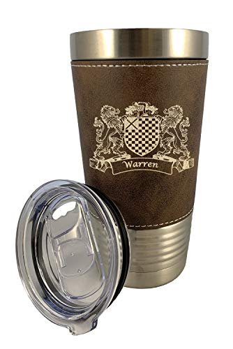 - Warren Irish Coat of Arms Leather Travel Mug