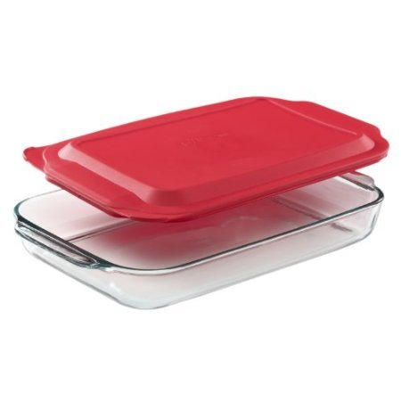4 Qt Oblong Baking Dish with Red Plastic - 4 Quart Baking Dish