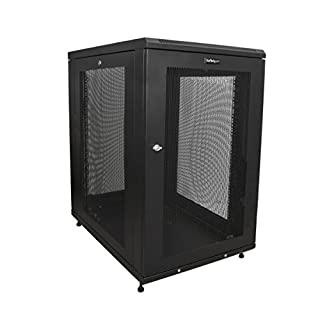 """Startech.COM 18U Server Rack Cabinet - 4-Post Adjustable Depth (2"""" to 30"""") Network Equipment Rack Enclosure W/Casters/Cable Management (RK1833BKM) (B071KW95QQ) 