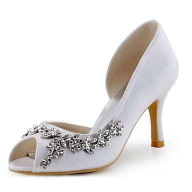 RTRY Las Mujeres'S Wedding Shoes Bomba Básica De Satén Stretch Primavera Verano Boda &Amp; Noche Crystal Stiletto Heelivory Luz Rosa Púrpura Rubí US4-4.5 / EU34 / UK2-2.5 / CN33