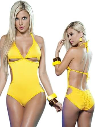 Amazon.com: Exotic Yellow One Piece Swimsuit/Dancewear