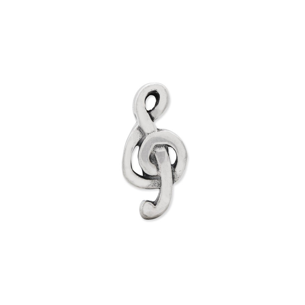 FB Jewels Solid 925 Sterling Silver Reflections Treble Clef Bead