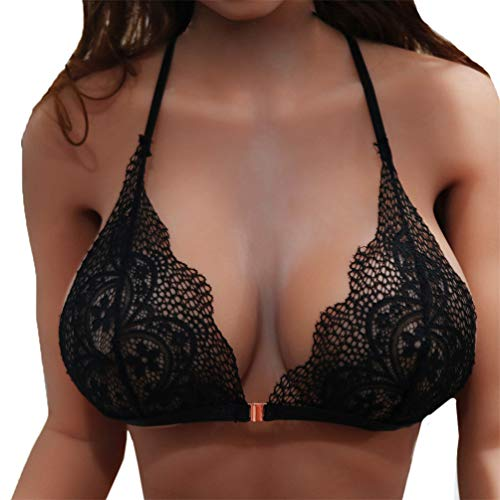 (Oasisocean Lace Bra, Underwire Bra for Women Beauty Sheer Sexy Bra Non Padded Underwired Strap Bralette Bustier Top Black)