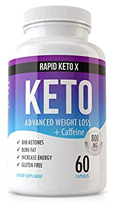 Rapid Keto X Keto Pills for Weight Loss and Fat Burn - Advanced Ketogenic Diet Supplement - Boost Ketosis - Women & Men Metabolism Boost Burner - Suppress Appetite - Boost Energy & Focus - 60 Capsules