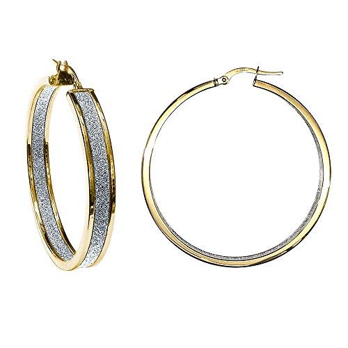 Jewelco Londres 9K moondust d'or à double boucles d'oreilles face 40mm