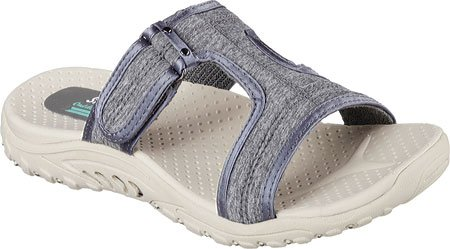 Sandal Reggae Charcoal Skechers Slide Sheen Women's F8IzxA