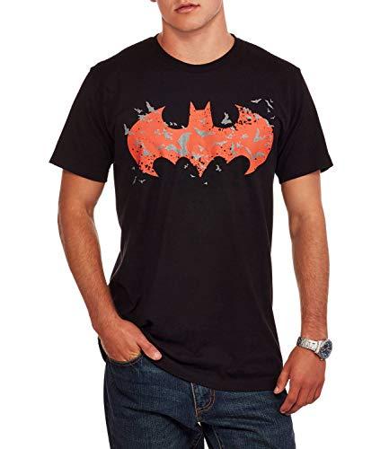 DC Comics Men's Batman Red Logo Glow in The Dark Graphic T-Shirt (S) -