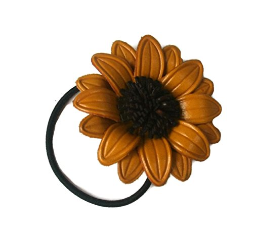 Bella Pazzo Handmade Yellow Color Genuine Leather Sunflower Flower Ponytail Holder and Hair Ties for Women and Girls
