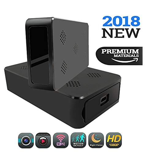 Hidden Spy Camera   1080P HD Portable Wifi Security Cam with Night Vision, Live Remote Surveillance, AC/Battery Powered, Motion Activated Recording and Loop Recording. Wireless Black Box Hidden Camera