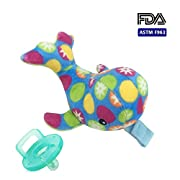 Soothie Pacifier-Plush Turtle Detachable Baby Pacifier with Squeaky Baby Toy,Infant Animal Pacifiers Holder (rabbit)