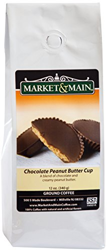 Main Peanut Butter (Market & Main Chocolate Peanut Butter Cup Flavored Coffee, Single Bag, 12 Ounces)