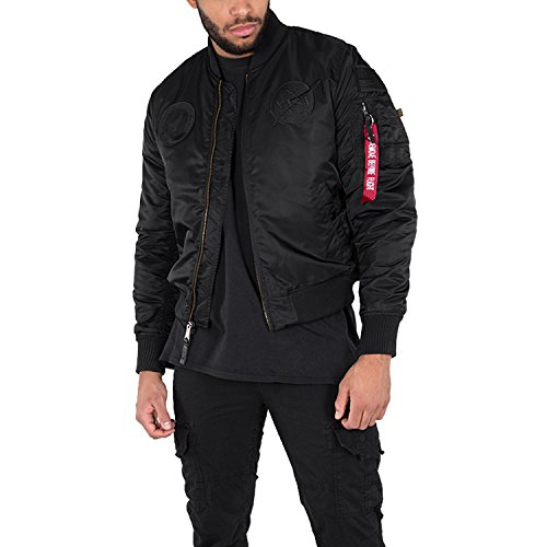 Verde NASA Alpha de VF Industries bombardero Hombre Logo All Black MA chaqueta 1 wvXOHA