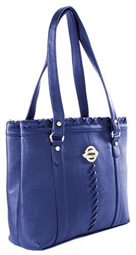 Big Handbag Shop - Bolso de asas de piel sintética para mujer Talla única azul real