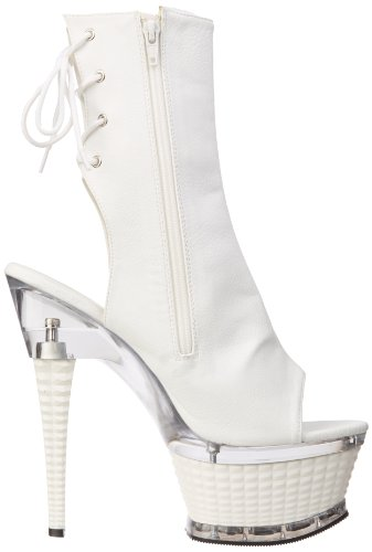 Bianco 1018 Donna White Pleaser Illusion Pu Stivali w5qxtIA