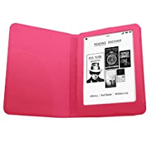Samrick Executive Specially Designed Leather Book Wallet Case with Leather Sleeve Slot , Screen Protector, Microfibre Cloth, Pink High Capacitive Mini Stylus Pen for WHSmith Kobo Glo eReader - Pink