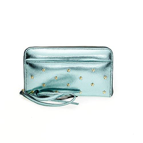 Fab by Fabienne Star stud purse big - Bolso glossy ocean blue metallic