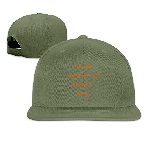 Suta My Dad Is Lucky Flat Bill Snapback Adjustable Travel Hat ForestGreen