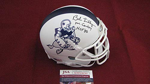 Bob Lilly Autographed Signed Autograph Custom Dallas Cowboys Mini Helmet Withmr Cowboy & Hof 80 JSA Authentic Wpp