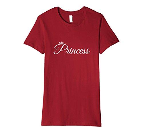 Women's PRINCESS T-Shirt Pink Crown Body Fitting Royal Girl's Shirt Large Cranberry (Princess Womens T-shirt Pink)