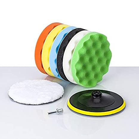 biuble 6'' Polish Pads Applicator Pads Polishing Pads Sponge and Woolen Polishing Waxing Buffing Pads Kits with M14 Drill Adapter-8Pcs (6inch-9Pcs)