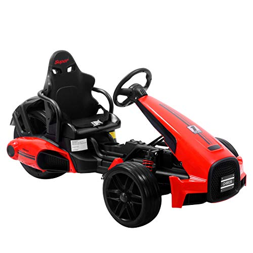 Uenjoy Electric Go Kart 12V Ride On Car Racing Car w/Gas Pedal, 2 Speed, Spring Suspension, Adjustable Steering Wheel, Red