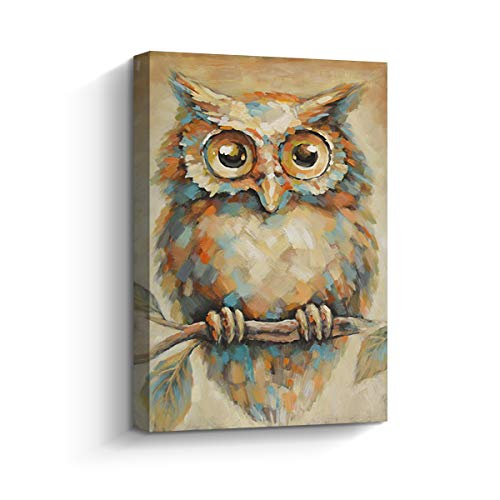 Framed Wall Art Abstract Quirky Owl Painting Large Contemporary Canvas Print Picture for Living Room Wall Decor